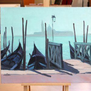 Venise, Ponton et gondoles, huile sur toile, 10F