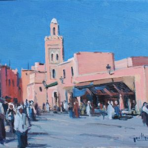 Guillain, Dans la medina de Marrakesh, huile sur toile, 6F