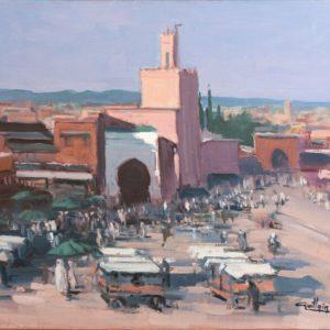 Guillain, Djema El Fna, huile sur toile, 50x61cm