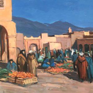 Guillain, Marché à Tamgute, huile sur toile, 92x65cm
