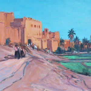 Guillain,  Remparts à Ouarzazate, huile sur toile, 15P