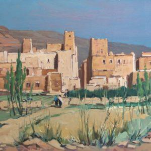 Guillain,  Village des Ait-Yazza, huile sur toile, 30F