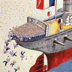 "Nicolas VIAL, La Marine nationale dégraisse"", aquarelle originale"