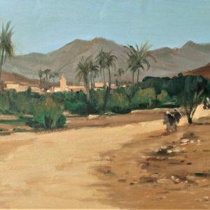 Guillain, Le grand sud marocain, huile sur toile, 50x100cm