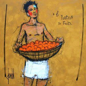 Le porteur de fruits, 100x100cm