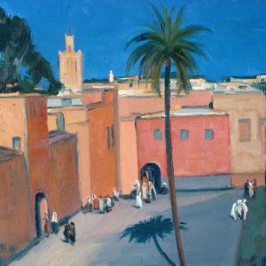 Guillain, Les terrasses de Marakech, huile sur toile, 20F