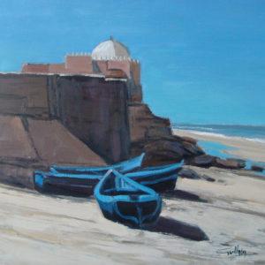 Guillain, Marabout de Sidi Kaouki, huile sur toile, 60x60cm
