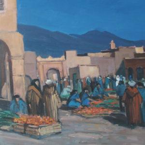 Guillain, Marché à Tamgoute, huile sur toile, 30P