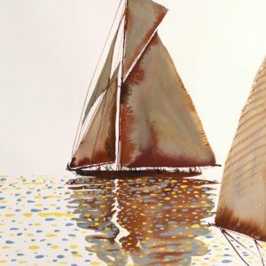 Nicolas VIAL, voilier, aquarelle gouachée