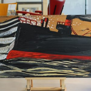 Nicolas VIAL,  cargo, acrylique sur bois, 47x140cm