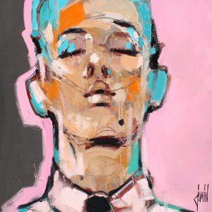 Portrait au fond rose, 60x60cm