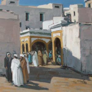 Guillain,  Souk à Essaouira, huile sur toile, 60x60cm