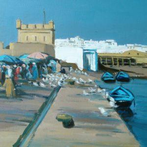 Guillain, Marché aux poissons, Essaouira, huile sur toile, 20P