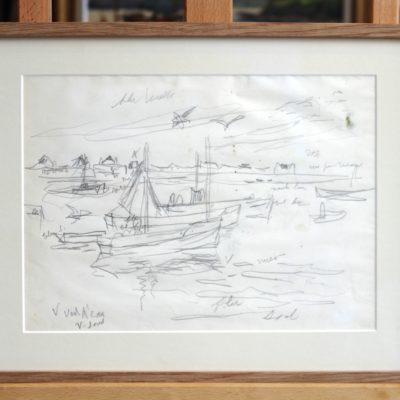 Lucien Simon, Bord de mer en Bretagne, dessin au fusain  avec annotations en bas à gauche, 19x25cm