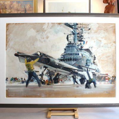 Albert BRENET, Catapultage d'un chasseur Etendard IV M de la Marine sur le porte-avion FOCH, Gouache, 77x113cm à vue