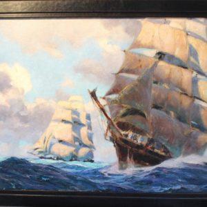 Albert BRENET, Voiliers, huile sur toile signée en bas à gauche, 66x100cm