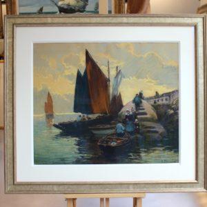 Henri Barnoin, Retour de pêche, pastel - disponible