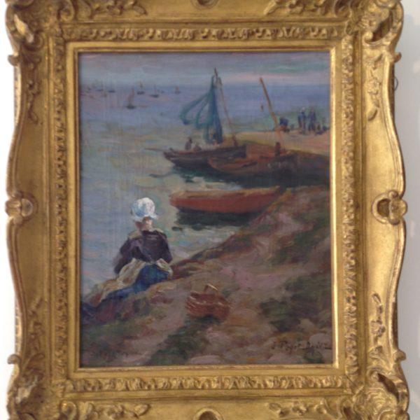 Jean-Bertrand Pégot-Ogier, Bretonne au bord de la mer, huile sur toile, VENDU