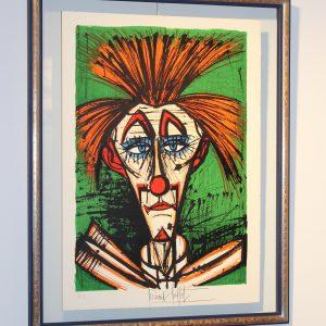 Bernard BUFFET-Clown fond vert - Vendu
