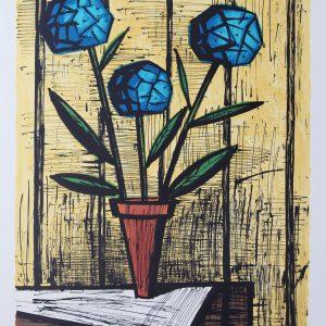 Bernard BUFFET, hortensias bleus, Vendu