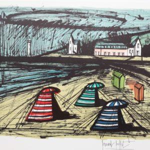B.BUFFET-348-Tentes sur la plage, Lithographie 109-150, 1980, 58x76cm