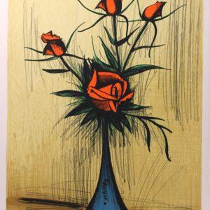 Bernard BUFFET, Roses dans un vase bleu, 1979, 3-150