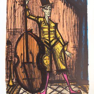 Bernard BUFFET, Le Clown à la contrebasse, lithographie n°