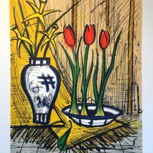 Bernard BUFFET- Jonquilles et tulipes, 1995, lithographie 34-150, 58x76cm