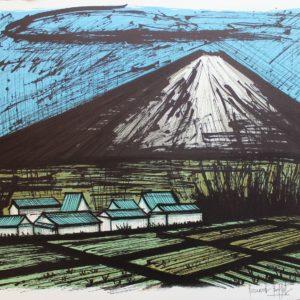 Bernard BUFFET-Le Fuji et les rizières, 1981, lithographie EA, 58x76cm