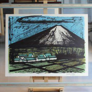 Bernard BUFFET-Le Fuji et les rizières, lithographie EA, 1981, 58x76cm