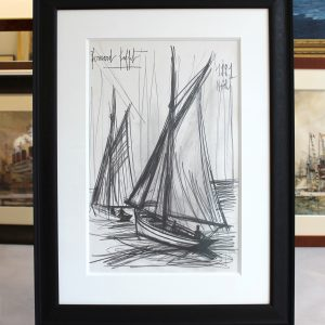 Bernard BUFFET, dessin au crayon, Marée Basse, Voiliers