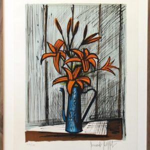 Bernard BUFFET,Liliums oranges, lithographie104-150