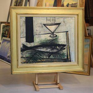 """Bernard Buffet, """"nature morte au poisson"""",1966 Huile sur toile"""