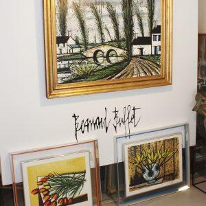 """Bernard Buffet, """"le pont"""", Huile sur toile, 79,5x114 cm"""