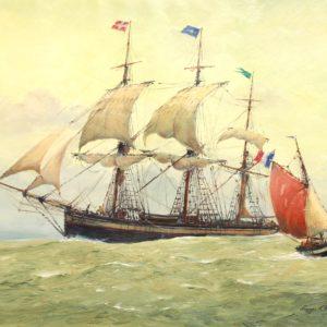 Roger Chapelet, l'Emeraude et son bateau pilote, huile sur toile, 50x65cm
