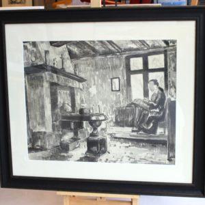 Pierre de Belay, Dentellière à Bruges, 1931, Gravure, vernis mou, 44x54cm