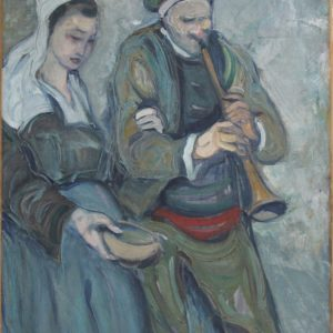 Pierre de BELAY, Couple de bretons, huile sur toile
