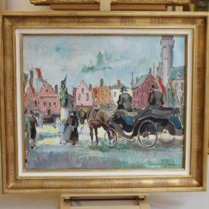Pierre de BELAY,  Bruges, la Grand Place (1930), huile sur toile