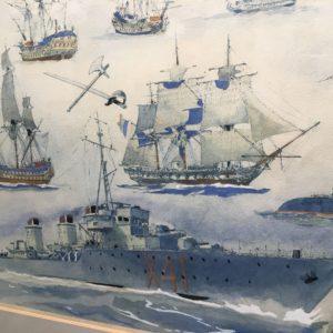Albert Sébille, Planche au pochoir n°635, Mémorial de la Marine,36x40cm, détail