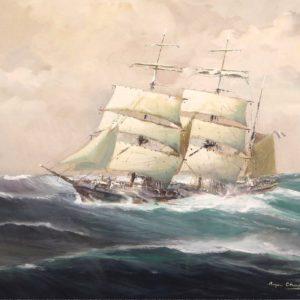 """Roger Chapelet, Trois-mâts barque"""" Gouache sur papier, 49x64cm"""