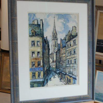 Franck WILL, Saint-Malo, fusain et aquarelle, 52x38cm