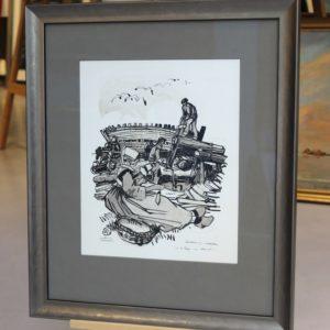 Mathurin MEHEUT, Les bateaux en construction en Armor 1, Gravure-Bois gravé sur vélin d'Arches, 32x26cm, disponible