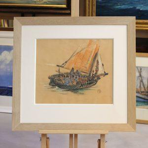 Mathurin MEHEUT, Navire, Fusain et crayolors sur papier, 30x35cm