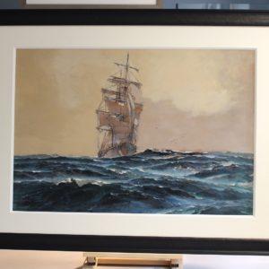 Marin-Marie, Trois-Mâts au ciel brun, aquarelle gouachée, 52x75cm