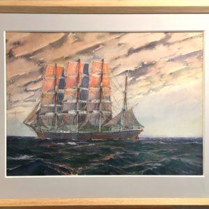 Marin-Marie, Quatre-mâts carré, aquarelle, 50x70cm