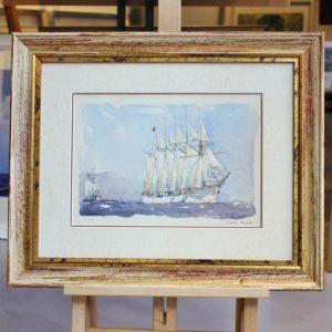 Marin-Marie, voilier 5 mâts, aquarelle, 20x29cm