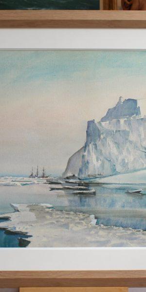 Marin-Marie, Le Pourquoi Pas dans les icebergs, 56x77cm, VENDU