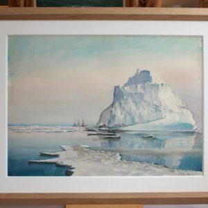 Marin-Marie, Le Pourquoi-Pas ? dans les glaces, aquarelle, 56x77cm