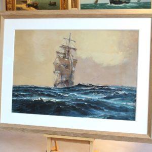 Marin-Marie, aquarelle, trois mâts au ciel brun