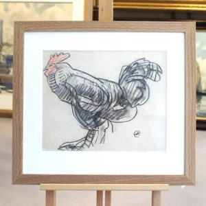 Mathruin MEHEUT, le coq, crayon gras, sanguine, 25x30cm